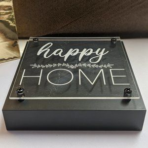 MADE WITH LOVE Wall Art - SHELF/DESK ART 'HAPPY HOME' Layered Plaque NWT